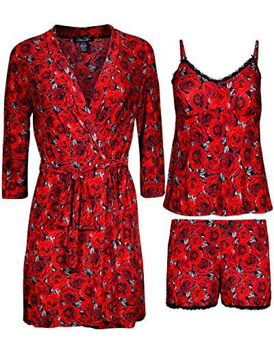 (Rene Rofe Women\'s 3-Piece Pajama Set - Shorts, Cami and Robe (Red Roses, Large)' )