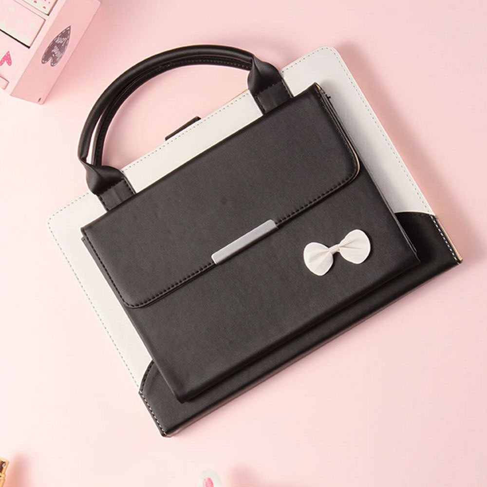 for iPad Mini ,iPad Mini 4 Case,iPad Mini 3 Case,iPad Mini 2 Case,LAPOPNUT PU Leather Portable Handbag style Cute Bowknot Design Magnetic Stand Flip Case Cover with Handle Storage Compartment - Black by LAPOPNUT
