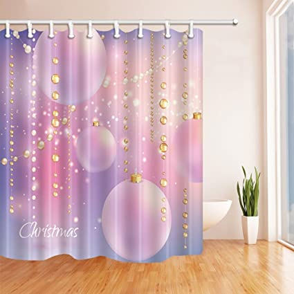 GoEoo Christmas Shower Curtains For Bathroom Western Festive Gold Beads And Pink Balloons Polyester Fabric Waterproof