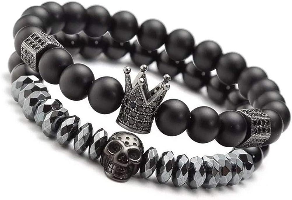 "8mm Charm Beads Bracelets for Men with Black Onxy Stone King Crown Skull Handmade Jewelry, 7.5"" Mens Bracelet"