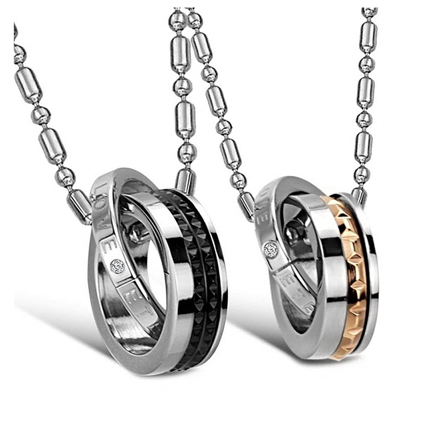 Amazon.com: His & Hers Matching Set Titanium Couple Pendant ...