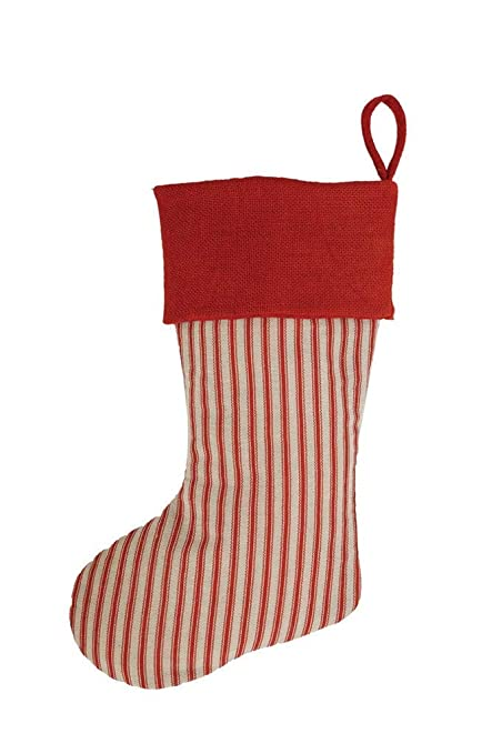 COOP Country Christmas Striped Fabric Holiday Stocking