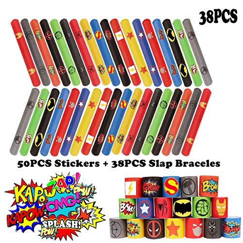 38PCS Superhero Slap Braceles - The Avengers Slap Bracelet for Kids Boys & Girls Birthday Party Supplies Favors - Cartoon Superhero Party Stickers(50 Pack) Carnival Prizes