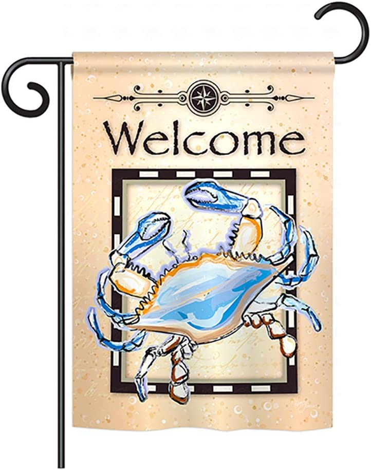 Breeze Decor Blue Crab Garden Flag Coastal Sea Creatures Nautical Ocean Fish Outdoor Summer Marine House Decoration Banner Small Yard Gift Double-Sided, Made in USA
