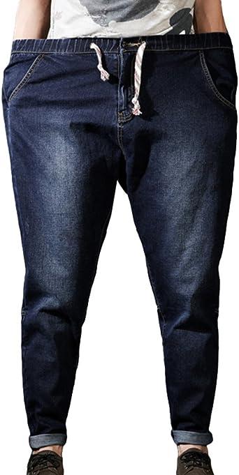 Heheja Herren Jeanshosen Hohe Taille Denim Hose Übergröße Elastizität Jeans