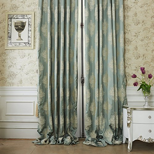 IYUEGOU Luxury European Style Jacquard Chenille Silky Fabric Grommet Top Lining Blackout Curtains Drapes With Multi Size Custom 42