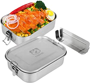 Bento Lunch Box Large 47oz/1400ml 304 Stainless Steel Lunch Container Leakproof Metal Food Containers for Kids Adults with Secure Locks Snack Containers-Small Adjustable Divider-Stainless Steel Lid