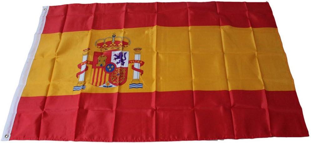 Bandera España Grande para Día Nacional Carnaval Desfile Adorno Decoración de Exterior Hogar al Aire Libre Mundo País 150 x 90 cm Yvelands: Amazon.es: Jardín