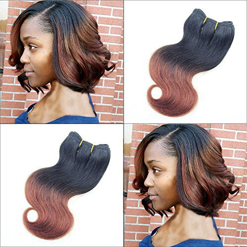 - 6Pcs 300g Brazilian Ombre Short Hair Extensions 8inch T1B/33 Body Wave Human Hair 2017 Trendy Bob Hairstyles for African Women