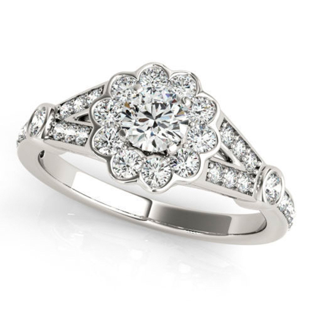 Good 0.34 ct J-K Moissanite Engagement wedding Ring 925 Sterling Silver