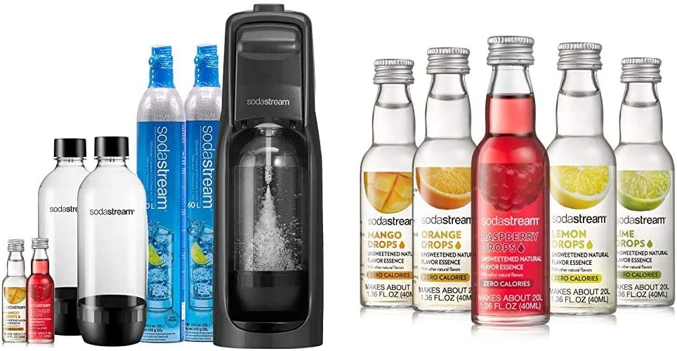 SodaStream Jet Sparkling Water Maker Bundle (Black), with CO2, BPA free Bottles, and 0 Calorie Fruit Drops Flavors & Fruit Drops Variety Pack, 1.67 Pound