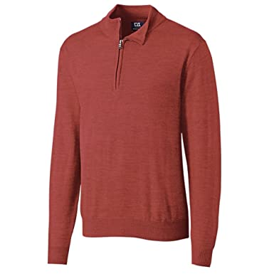 8125bc63d424 Cutter   Buck Douglas Half Zip Mock Neck Sweater at Amazon Men s ...