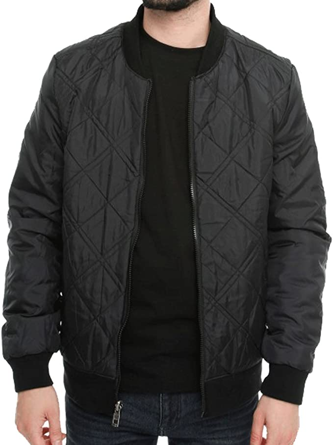Paramount Mens Designer Quilt Lined Light Padded Reversible Jacket Casual Full Zip Coat