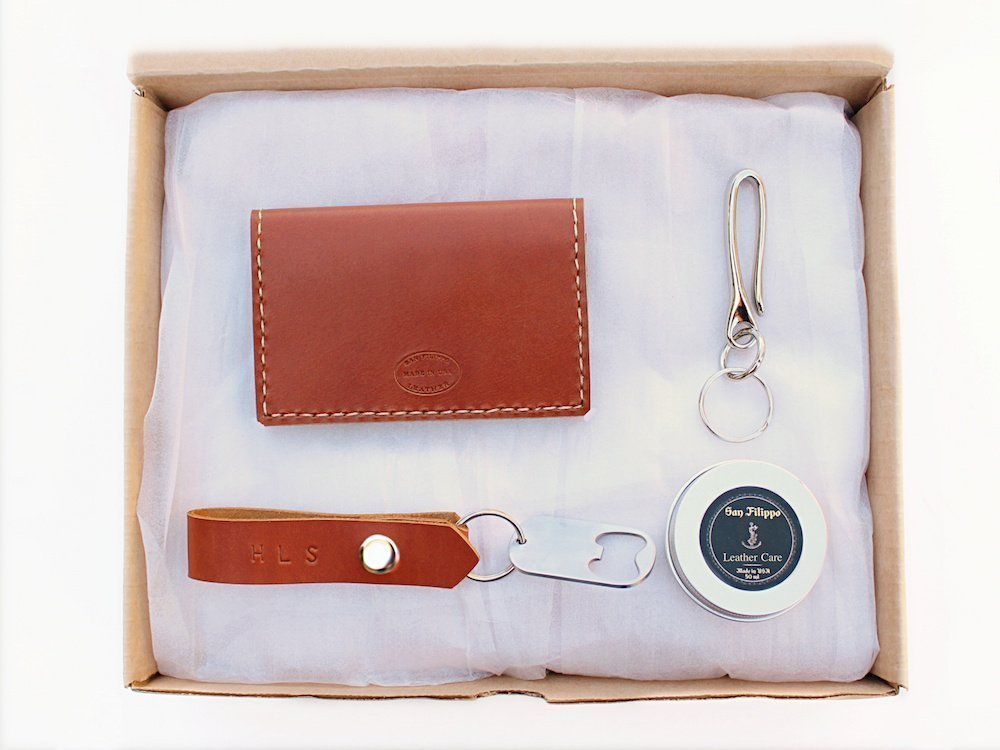 Men's Leather Card Wallet Gift Set by San Filippo Leather