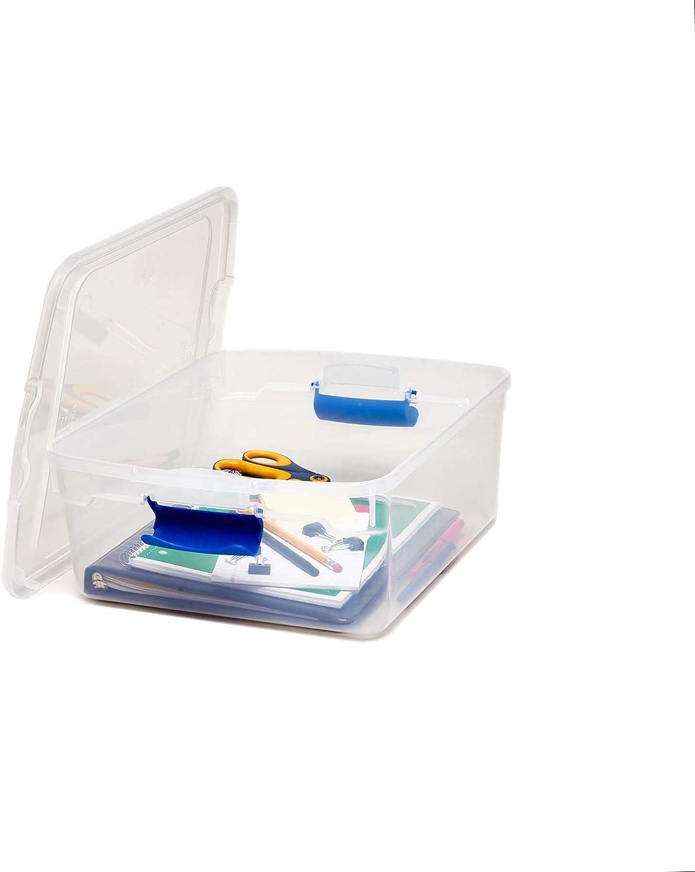 15.5 qt latching clear storage box set homz quart plastic container 4-pack