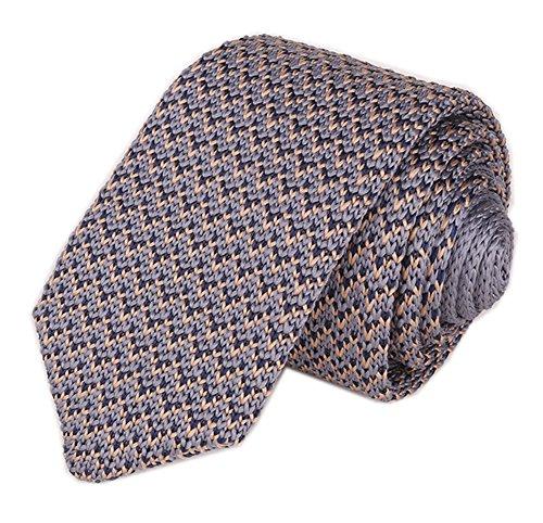 (Men Classic Grey Tan Solid Color Woven Silk Tie Designer Cotton Necktie Neckwear)