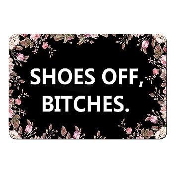 Preferred Amazon.com : Funny Text doormat -Shoes Off, Bitches-Floor Mat Rug  XR17