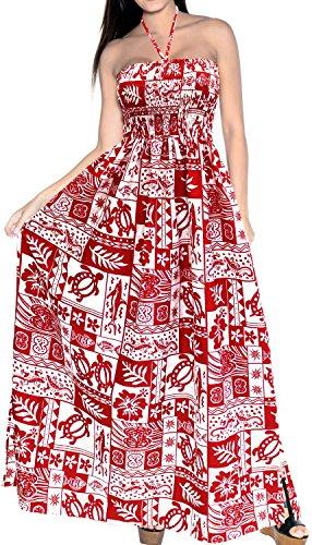 LA LEELA Encubrir Las Mujeres Ropa de Playa Vestido de Corte Largo Tubo Largo Likre Suave Halter Maxi Rojo_h272