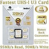 Amplim 4-Pack 32GB Micro SDHC U3 Card Plus SD Adapter Extreme Pro Class 10 UHS-I MicroSDHC 95MB/s Read, 90MB/s Write. Ultra High Speed HD UHD 4K Video. Internal/External MicroSD Flash Memory