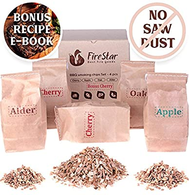 BBQ Smoking Chips - Wood Chips variety pack: alder, oak, apple, cherry - 100% Natural and Organic wood product - For bbq grill fireplace - Best Smoker chips mix 5 pcs gift set - BONUS recipe e-book by Firestar