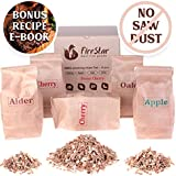 BBQ Smoking Chips - Wood Chips variety pack: alder, oak, apple, cherry - 100% Natural and Organic wood product - For bbq grill fireplace - Best Smoker chips mix 5 pcs gift set - BONUS recipe e-book