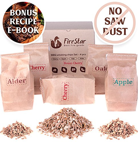 Oak Pack (BBQ Smoking Chips - Wood Chips variety pack: alder, oak, apple, cherry - 100% Natural and Organic wood product - For bbq grill fireplace - Best Smoker chips mix 5 pcs gift set - BONUS recipe e-book)