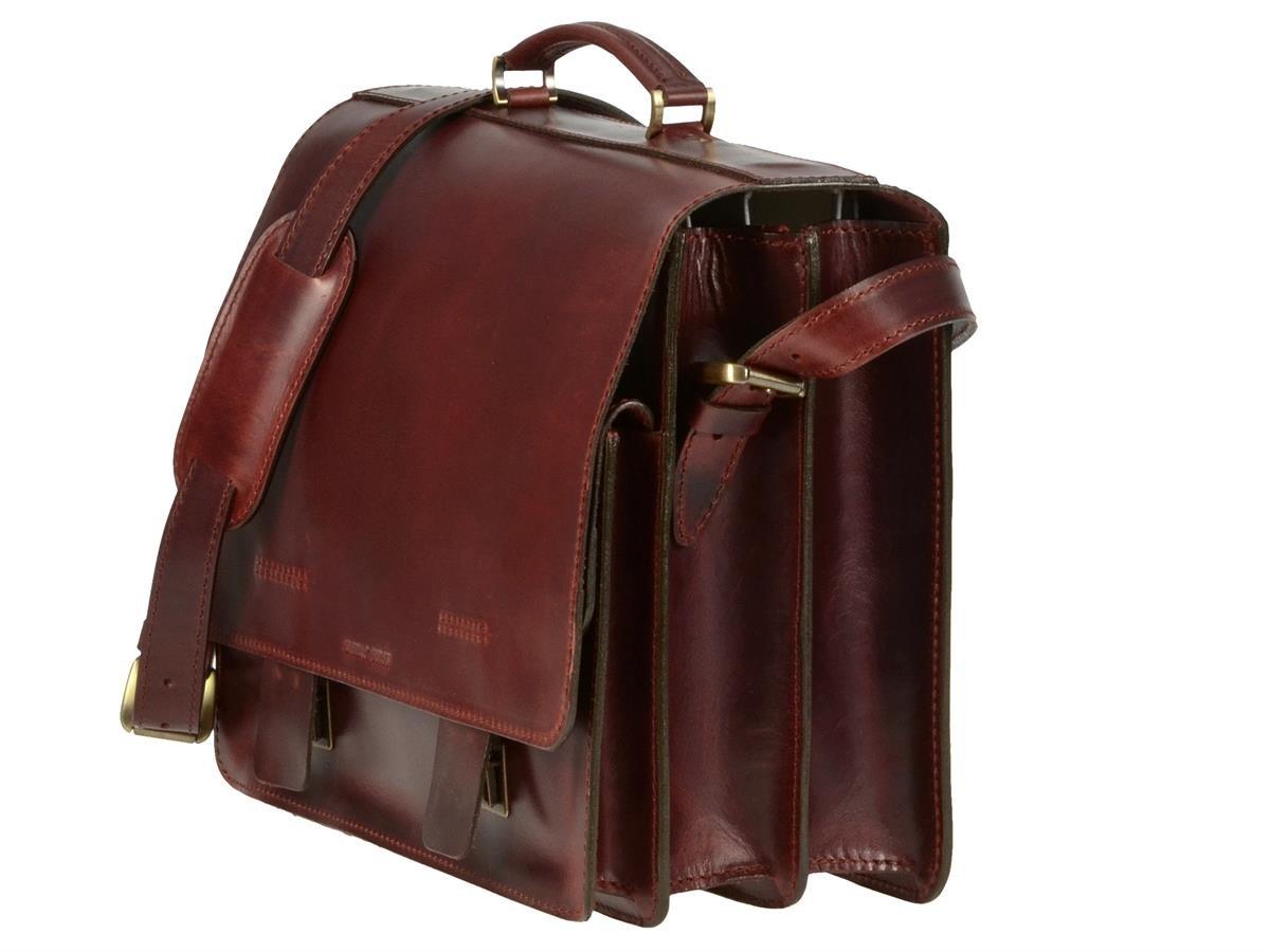 e084d8838aab2 Aktentasche Herren Leder groß 40cm 2 Fächer 1 Vortasche Griff Schultergurt   Amazon.de  Koffer