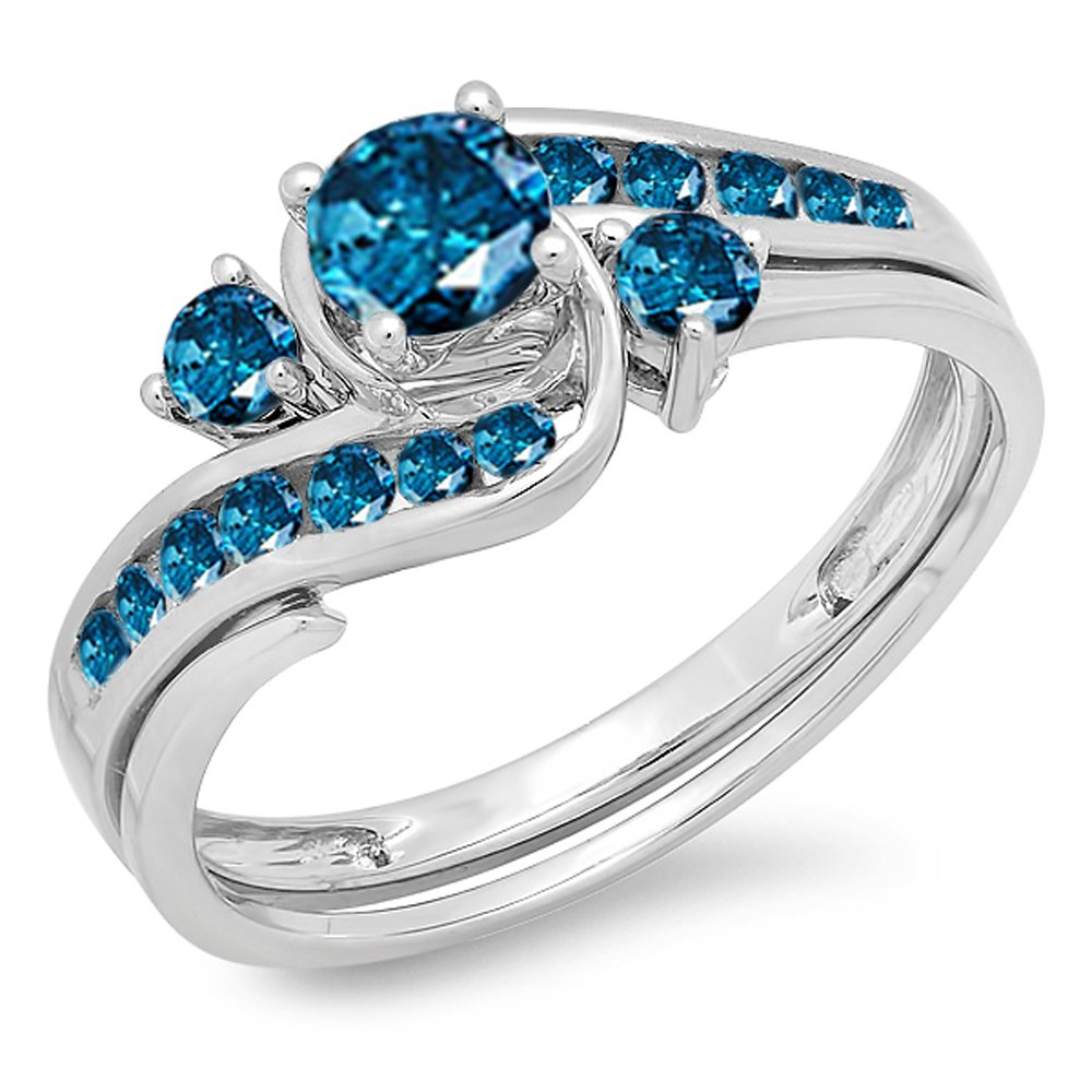 193ac5f7d Amazon.com: Dazzlingrock Collection 0.90 Carat (ctw) 10k Round Blue Diamond  Ladies Swirl Bridal Engagement Ring Matching Band Set, White Gold: Jewelry