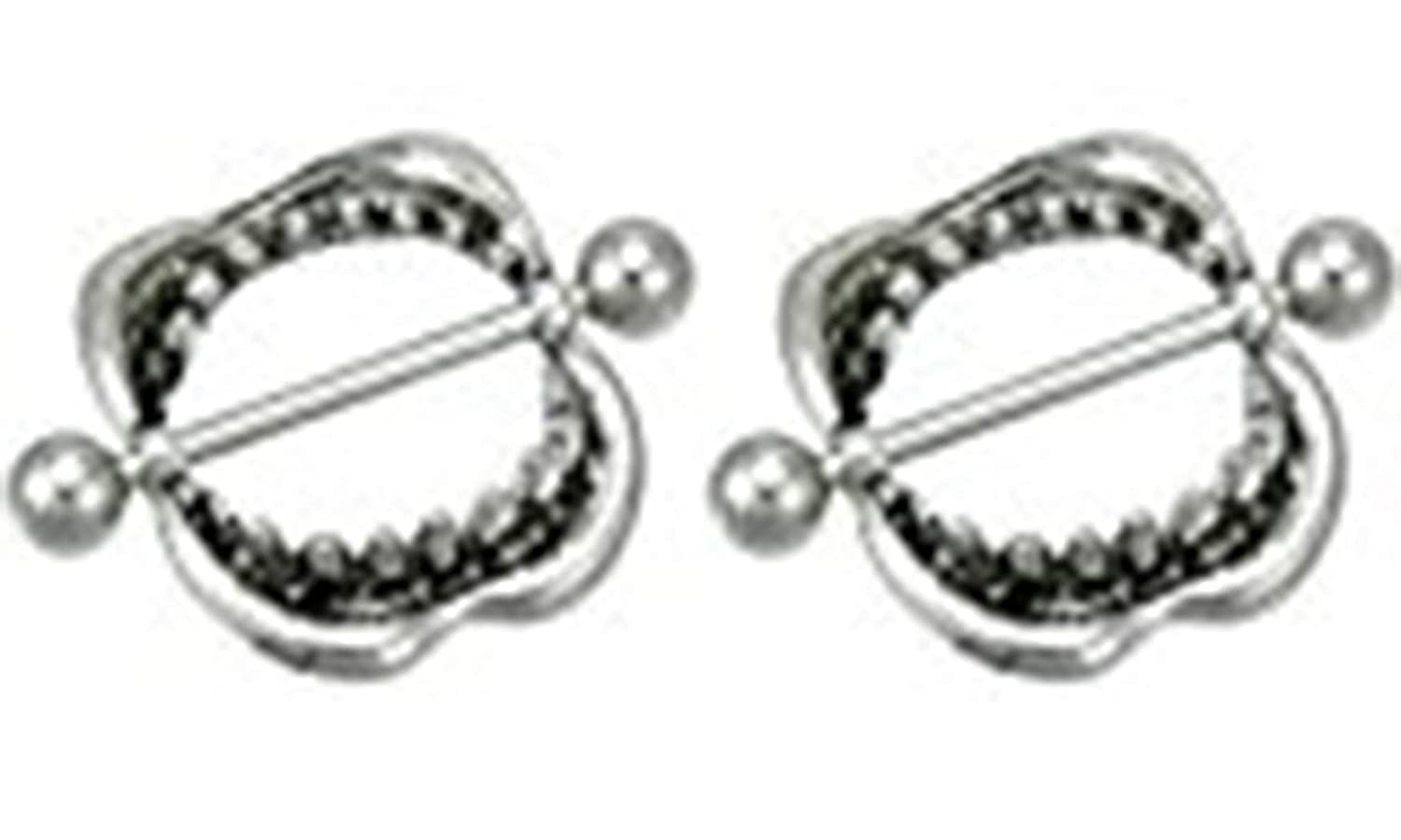 Body Accentz Nipple Ring Bars Shark Teeth mouth lips love bite 14 gauge Pair