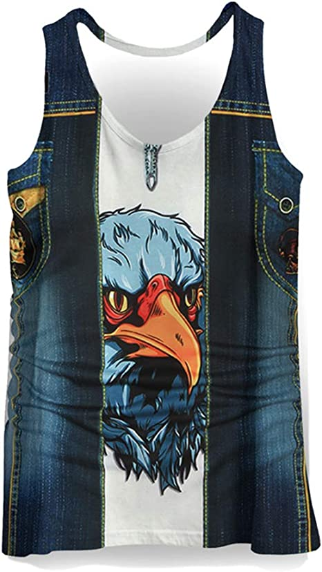 3D Pattern Silky Material Summer Beach Outdoor Vest Multiple Size Style 1?,??