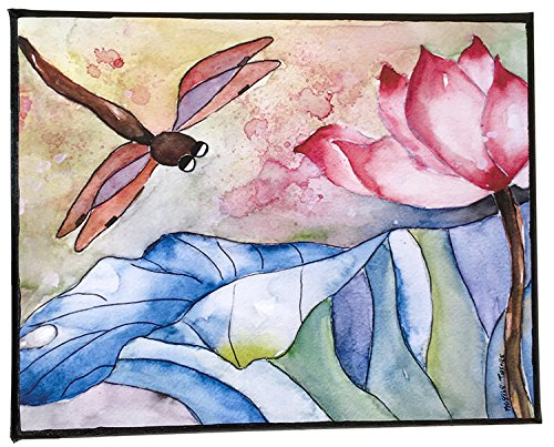 Pink Lotus Dragonfly Watercolor Painting Print Flower Wall Art