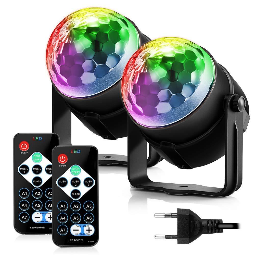 bola disco iluminaci/ón de Discoth/èque luz de estadio Eclairage tarde Mini proyector foco RGB mando a distancia para fiesta L/ámpara de escena cumplea/ños Bar Club,DJ Disco ni/ños/-/2/Pack regalo