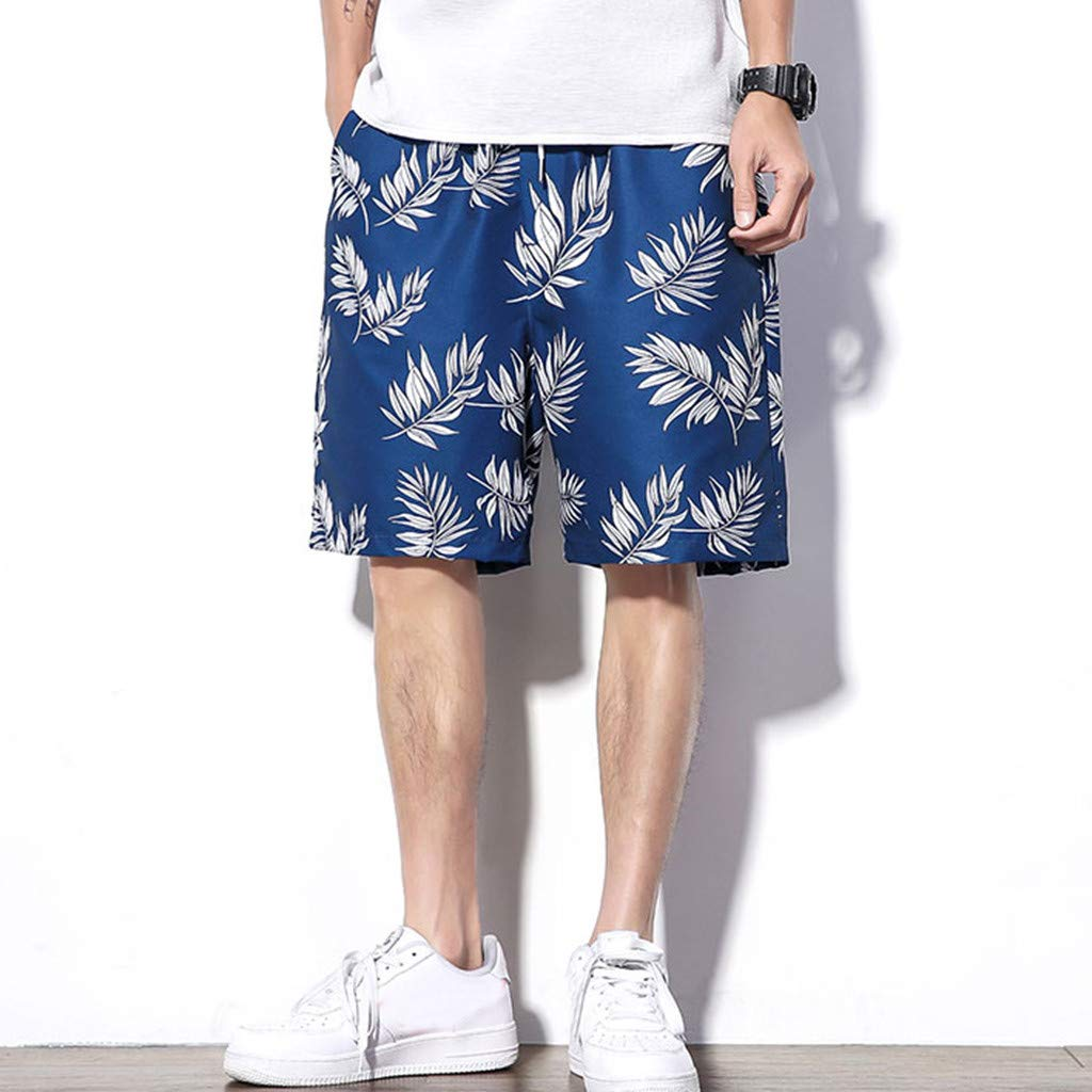 VonVonCo Mens Pants Elastic Waistband Fashion Mens Summer Casual Trend Loose-Fitting Plus-Size Five-Cent Beach Pants