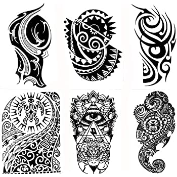 Amazon.com: Gilded Girl 6 Large Tribal Temporary Tattoos Realistic ...
