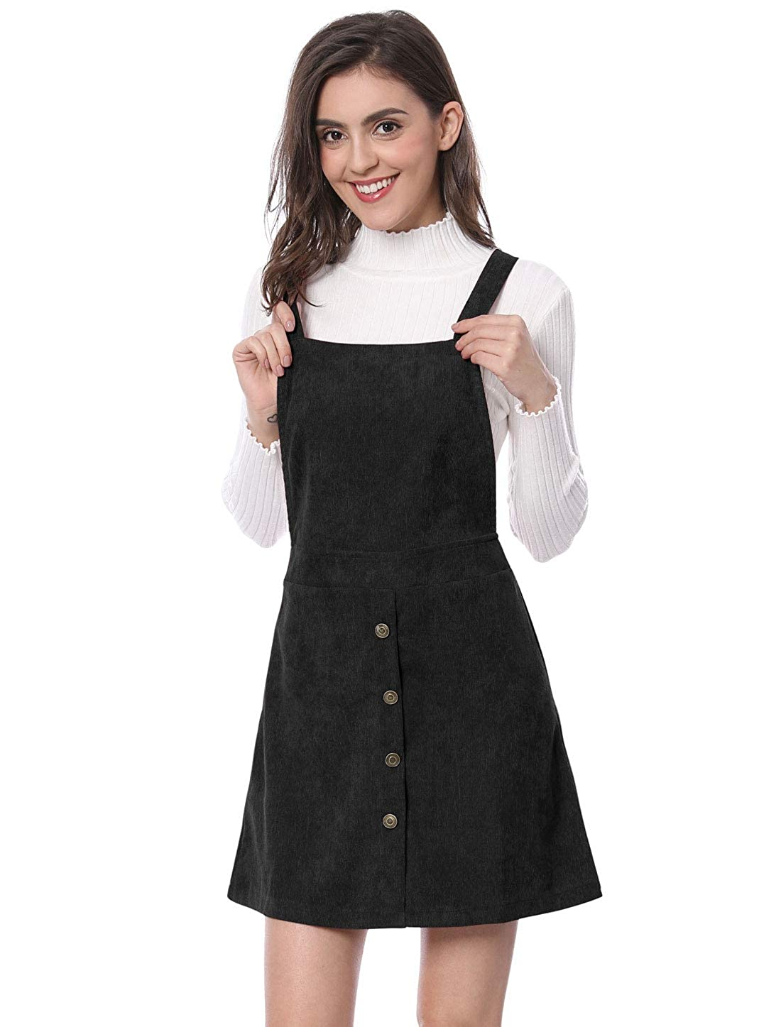 20951b2c8b Allegra K Women s Corduroy Button Decor A Line Suspender Overall Skirt Dress   Amazon.co.uk  Clothing