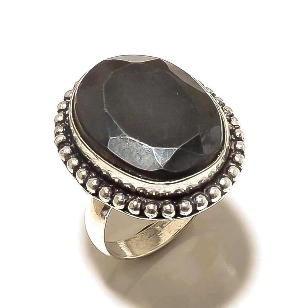 Cut black Spinel Sterling Silver Overlay 7 Grams Ring Size 6.25 US Handmade Jewelry Gift Jewelry