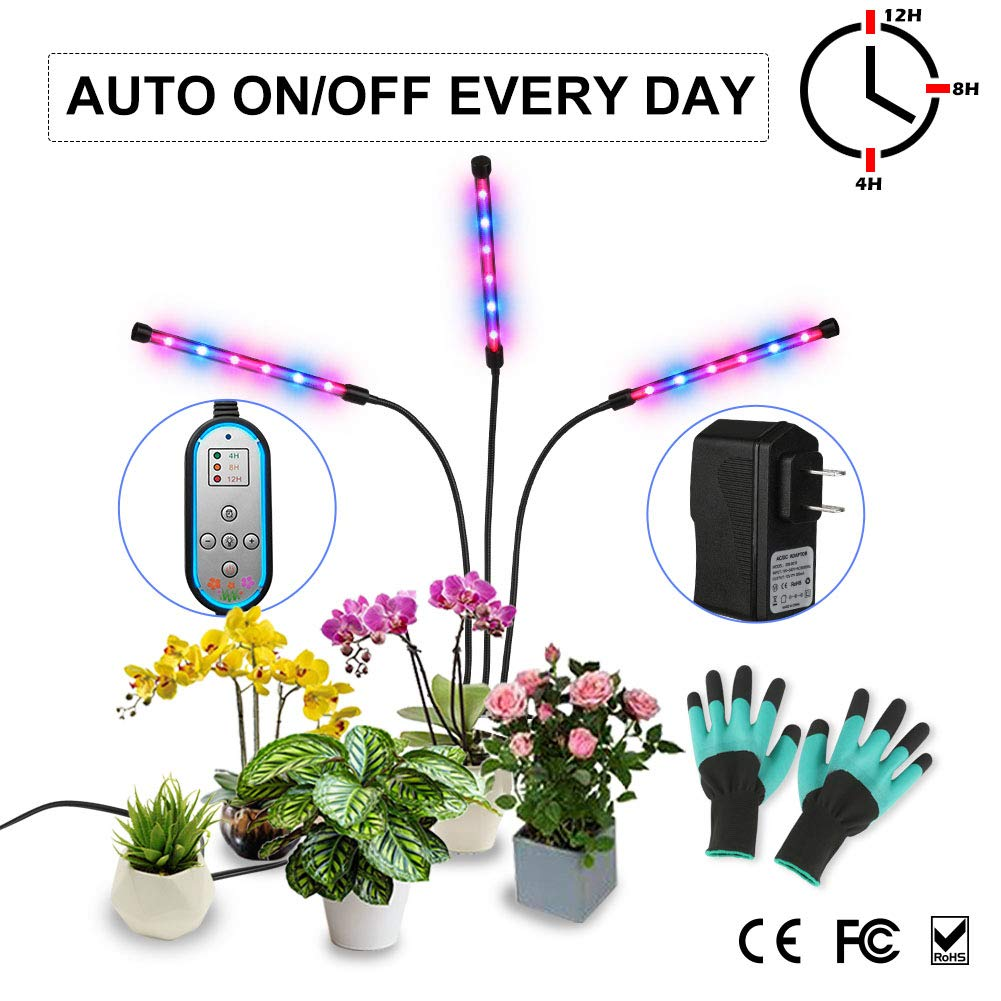 Grow Light, Auto ON & Off Every Day with Two-Way Timer 36W Triple Head Growing Lamp for Indoor Plants, High Power LED, 8 Dimmable Levels, 4/8/12H Memory Timing for Hydroponics Greenhouse Gardening by Melophy