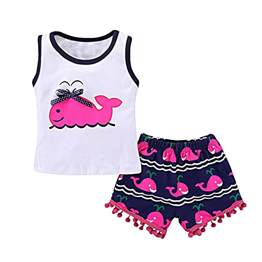 e3f0635005 Wesracia Kids Girls Clothes Set Whale Print Vest+Tassel Pants Hairball  Summer Outfits (18M