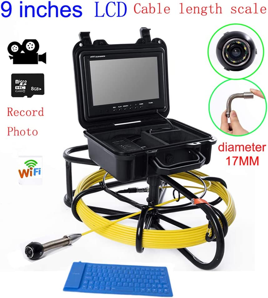 9インチWIFI 17ミリメートル工業用パイプライン下水道検知カメラIP68防水排水検知1000 TVL DVR機能,40M  40M