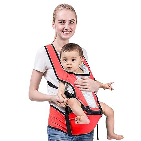 MAGICBABY 3D Soft Baby Carrier 6-in-1 Waist Stool 360/° Ergonomic Soft Seat Belt Waistband Hip Support for Newborn Infant /& Toddler All Season Breathable-Design DarkRed