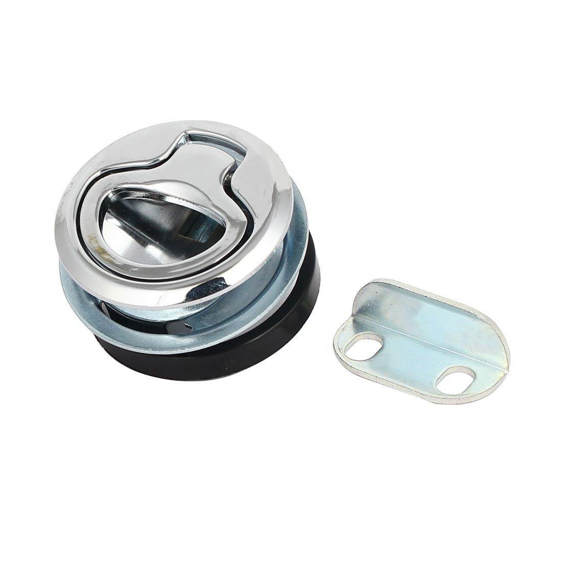 Uxcell a16121700ux1189 Uxcell a16121700ux1189 Zinc Alloy Round Shape Flush Pull Keyless Slam Latch Lock Locker Silver Tone, Zinc