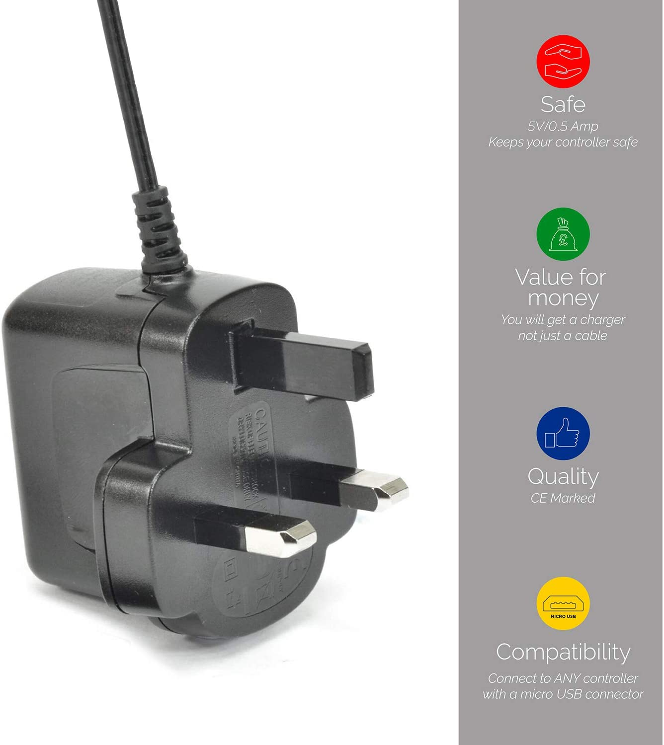 Safe Charging CE Marked Charger For Fast Micro USB Mains Charger for XBOX One Controllers 0.5amp 2m Lead with 5V 500mAh