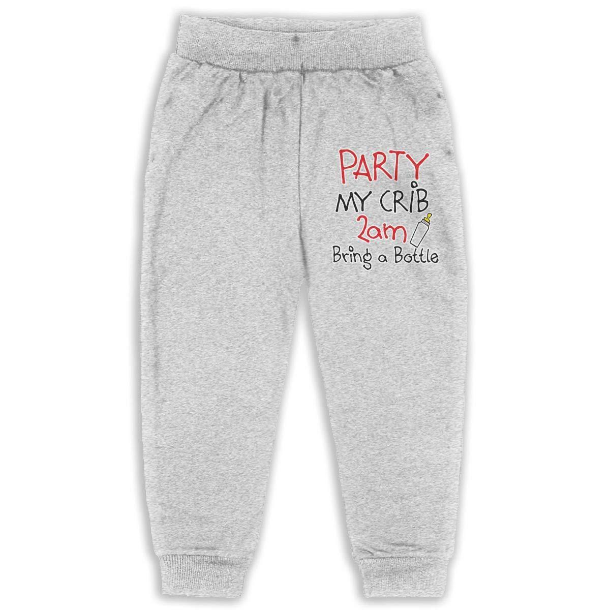 Laoyaotequ Cosy Party at My Crib 2 A.m Bring Bottle Kids Cotton Sweatpants,Jogger Long Jersey Sweatpants