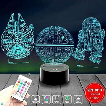 3 Pattern 3D Led Illusion Lamp Star Wars Night Light - 7 Color