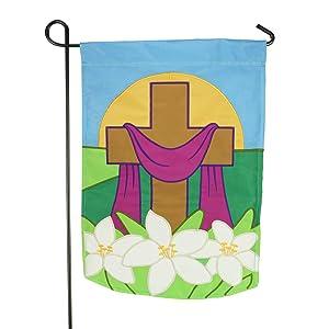 "LAYOER Garden House Flag 12"" x 18"" Applique Easter Cross Lilies Spring Flower Religious"