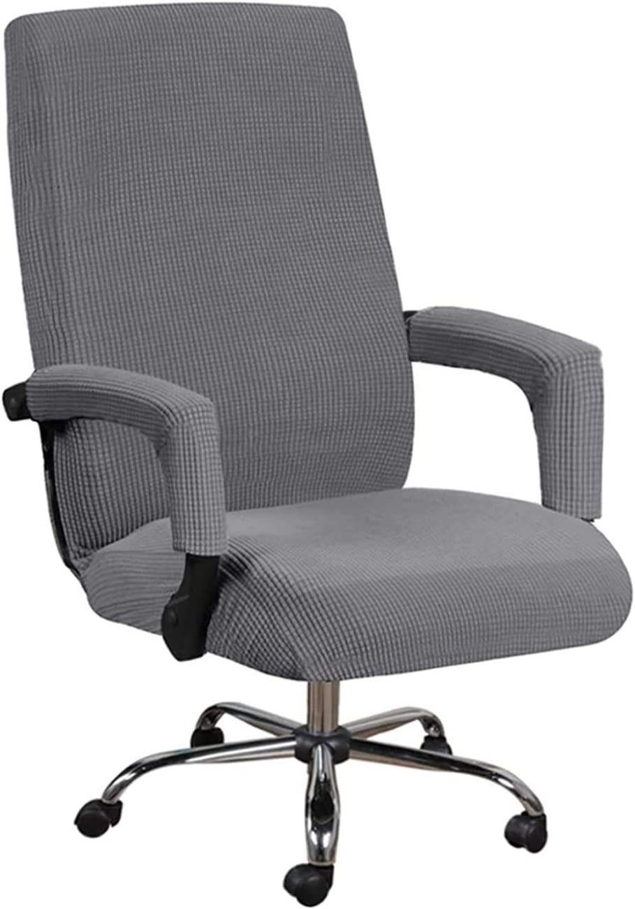 GAEA.TEX Office Chair Cover Computer Chair Boss Swivel Chair Slipcover Durable Stretch Soft Protector with Arm Covers (Large, Gray)