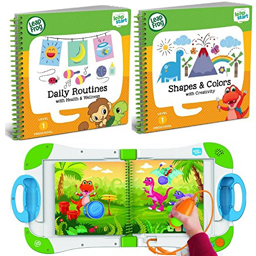 LeapFrog LeapStart Interactive Learning System Level 1 Preschool and Pre-Kindergarten for Kids Ages 2-4, With 2 Leap Start Books Learning Shapes & Colors And Daily Routine Health & Wellness Bundle Set ()