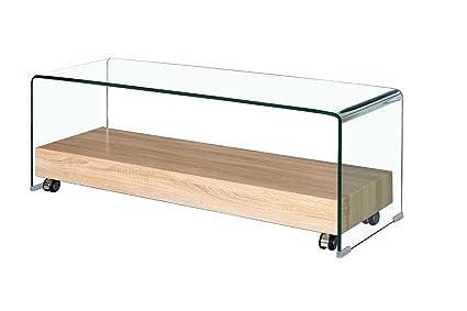 Mueble TV de Cristal Transparente – Bandeja Base con Ruedas (Madera Décor Roble – diseño