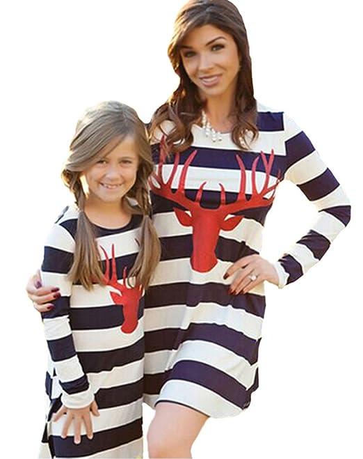 c13267e6ac0a Minetom Donna Estate Autunno Striscia Abito Elegante Manica Lunga Vestito  per Madre e Figlia Vestiti Casual Parent-Child  Amazon.it  Abbigliamento