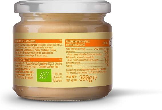 NATRULY Crema de Anacardos BIO, Mantequilla 100% Anacardo Sin Azúcar, Orgánica, Sin Gluten, Sin Aceite de Palma-300 g (antes Natural Athlete): Amazon.es: Alimentación y bebidas